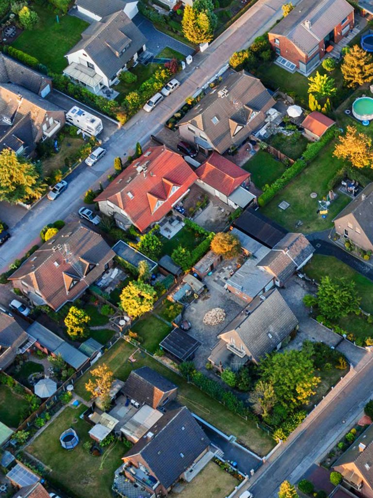 Residential Street Aerial View